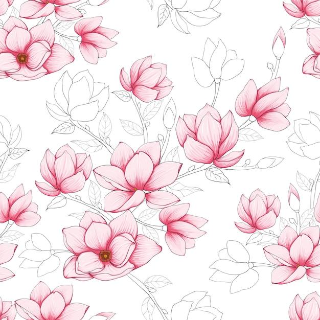 La magnolia en colores pastel del rosa inconsútil del modelo florece el fondo. Vector Premium