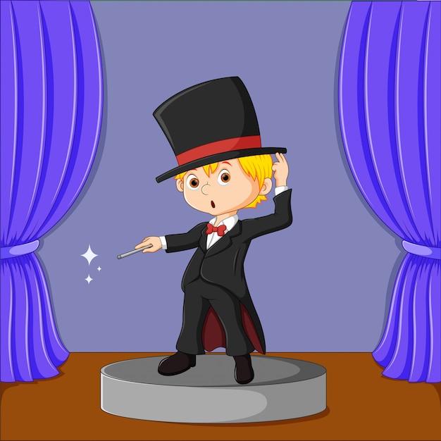 Mago actuando en una ilustración del escenario Vector Premium