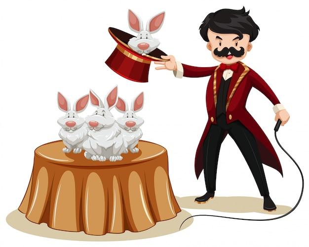 Mago y conejos en la feria. vector gratuito
