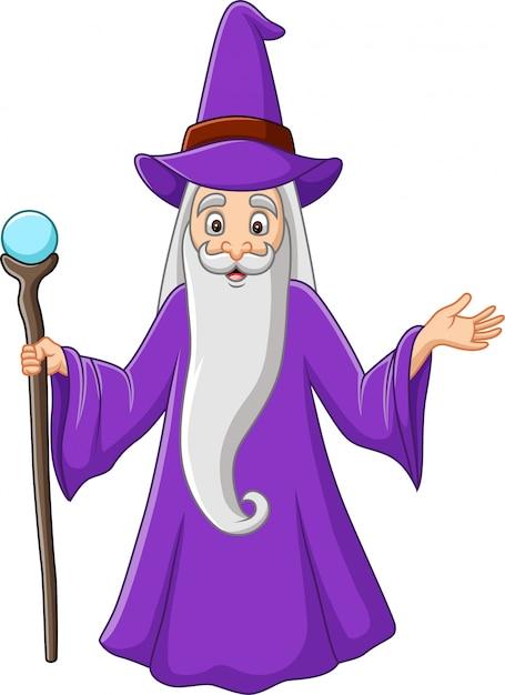 Mago viejo de dibujos animados sosteniendo el palo mágico Vector Premium