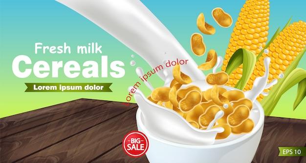 Maíz copos de maíz en salpicaduras de leche realista Vector Premium