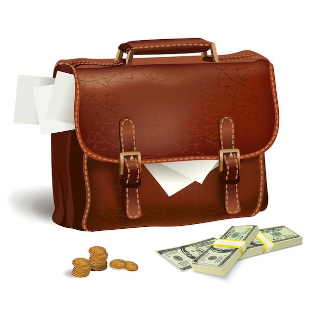 Maletín de piel con documentos y dinero. vector gratuito