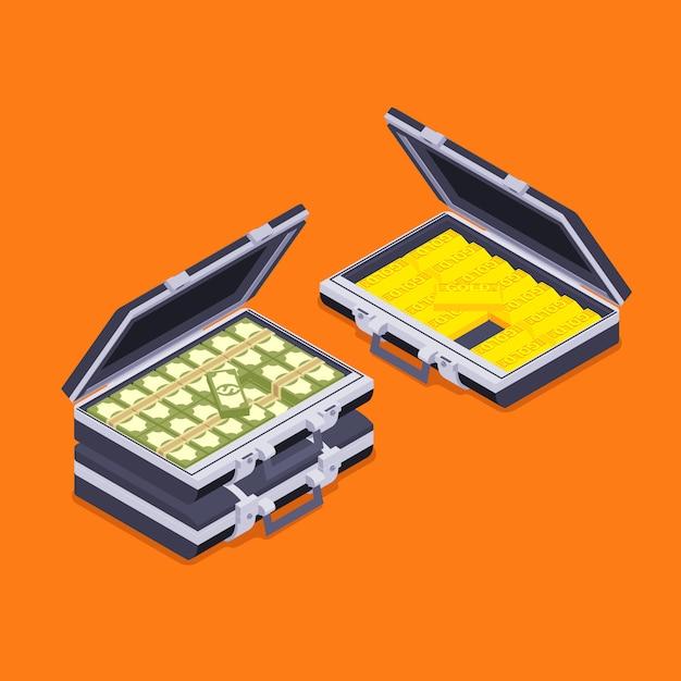 Maletines abiertos isométricos con las barras de oro y dinero contra el fondo naranja Vector Premium
