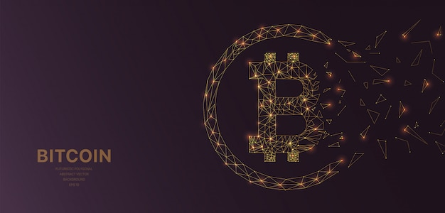Malla poligonal de alambre futurista con bitcoin Vector Premium