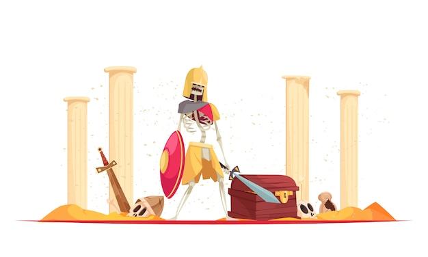 Malvado guerrero feroz en casco trayendo destrucción muerte con escudo espada entre ruinas composición de dibujos animados vector gratuito