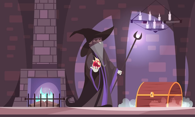 Malvado mago en el sombrero de bruja malvada con bola de poder cofre del tesoro en la cámara del castillo oscuro de dibujos animados vector gratuito