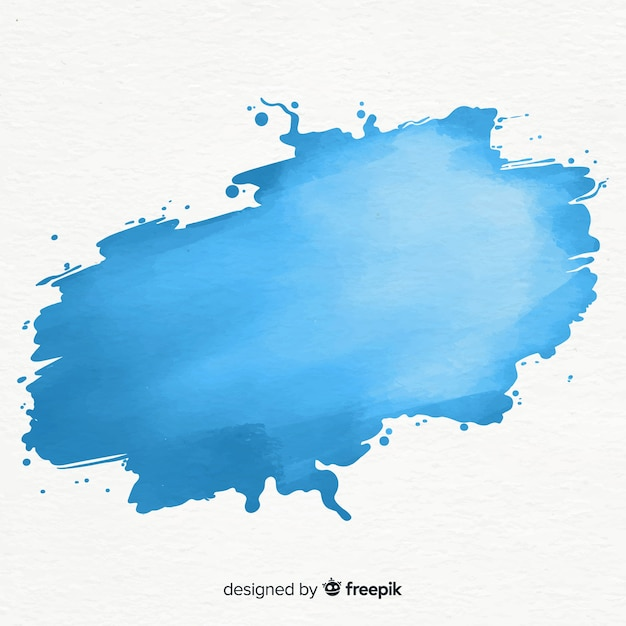 Mancha azul de acuarela vector gratuito