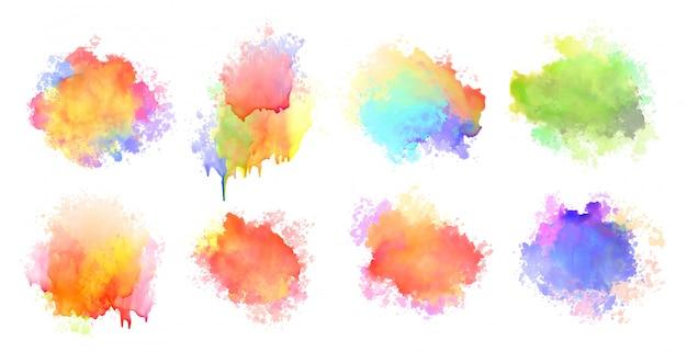 Mancha de salpicaduras de acuarela aislada colorido conjunto de ocho vector gratuito