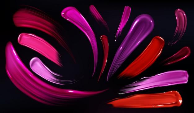 Manchas de lápiz labial, esmalte de uñas o pintura conjunto aislado sobre fondo negro. vector gratuito