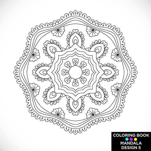 Mandala Blanco Y Negro Para Libro De Colorear Descargar Vectores