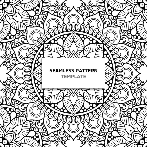 Mandala blanco y negro de patrones sin fisuras Vector Premium