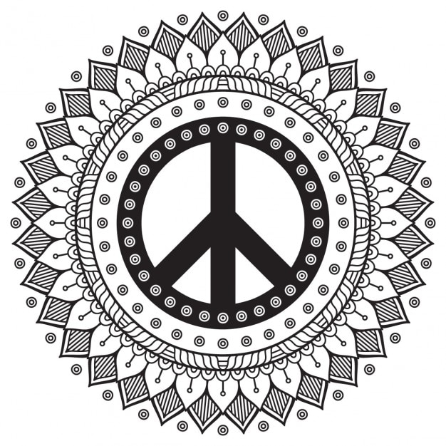 Mandala Blanco Negro Con Mbolo Paz