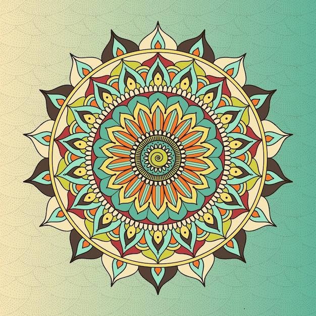 Mandala de círculo étnico oriental de vector. budismo símbolo sagrado, flor de meditación, decoración étnica, ilustración de motivo tribal vector gratuito