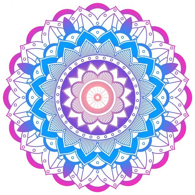 Mandala colorida en blanco vector gratuito