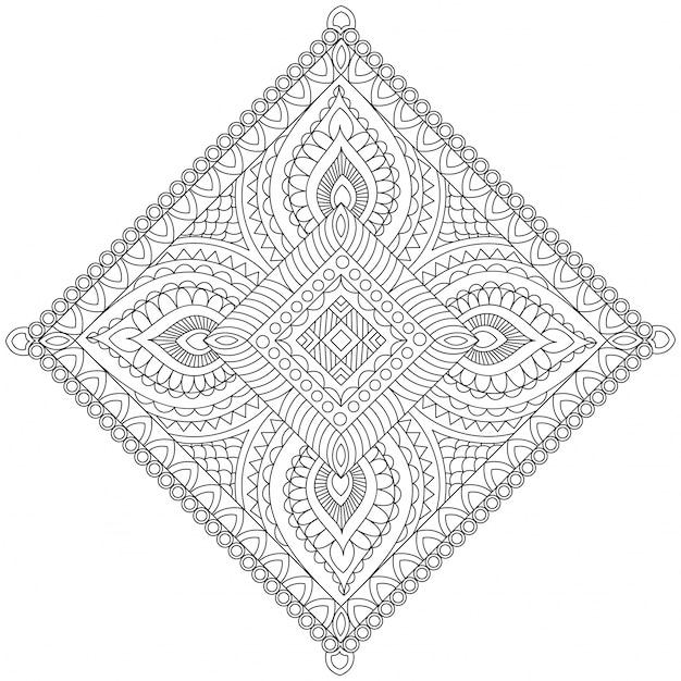 Mandala creativa detallada, patrón oriental floral hermoso, elemento ...