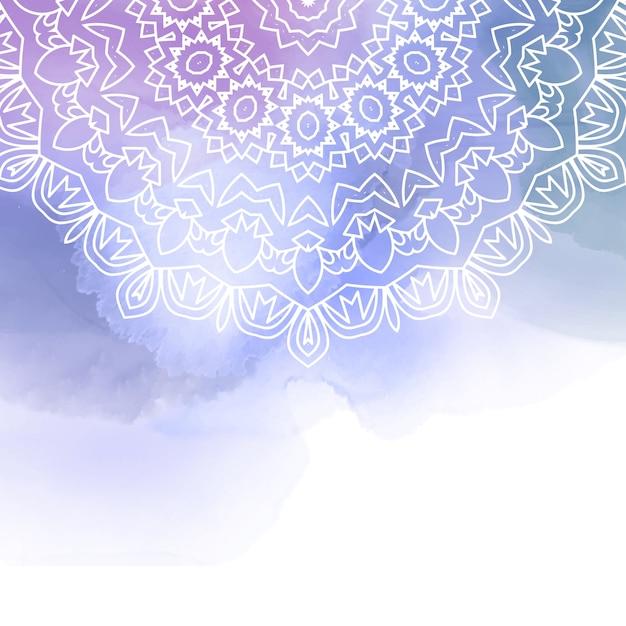 Mandala decorativo en un fondo de acuarela vector gratuito
