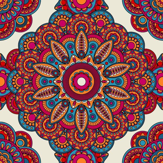 Mandala doodle color patrón transparente Vector Premium