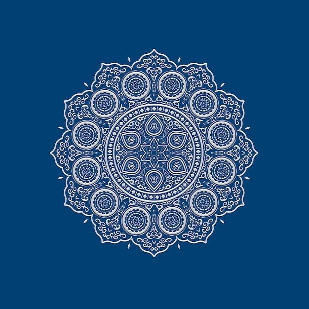 Mandala de encaje blanco delicado étnico en azul Vector Premium