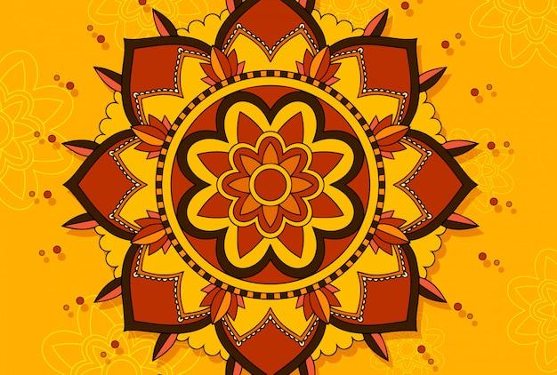 Mandala en escena amarilla vector gratuito