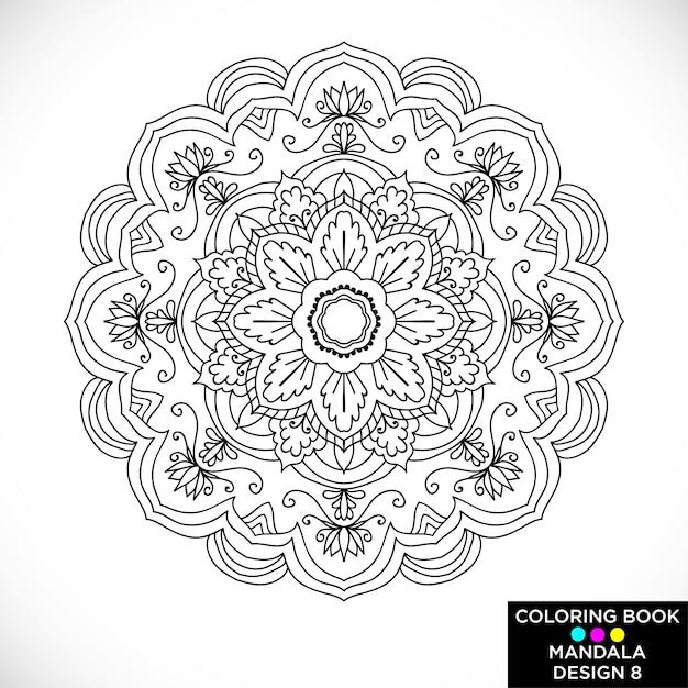 Mandala Floral Blanco Y Negro Para Libro De Colorear Descargar
