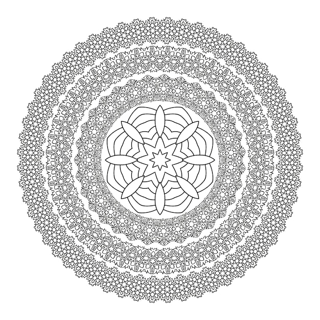 Mandala de flores para colorear libro. patrón de henna étnico blanco ...