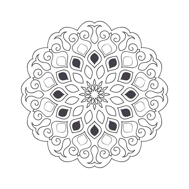 Mandala de flores dibujadas a mano para colorear libro. patrón de henna étnica en blanco y negro. motivo indio, asiático, árabe, islámico, otomano, marroquí. Vector Premium