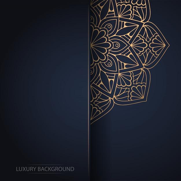 Mandala de flores de oro sobre fondo oscuro vector gratuito