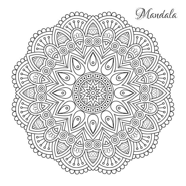 Mandala de flores Vector Premium