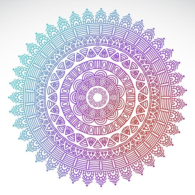 Mandala de gradiente redondo sobre fondo blanco aislado vector gratuito