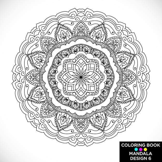 Mandala hermoso para libro de colorear | Descargar Vectores gratis