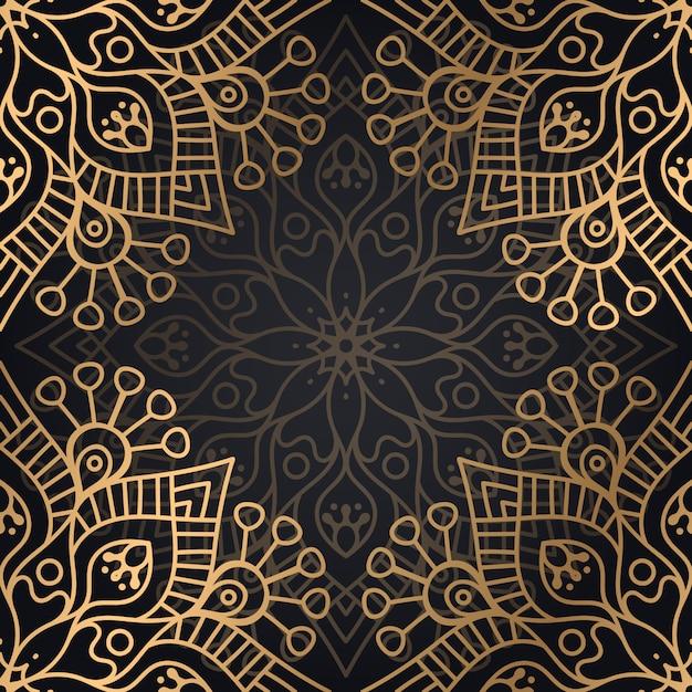 Mandala ornamental de lujo diseño de patrones sin fisuras en vector de color oro Vector Premium