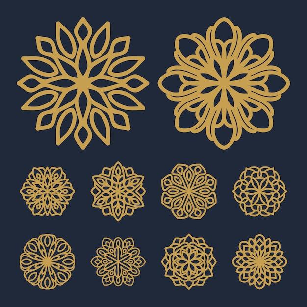 Mandala patrón de flores pack vector de ilustración Vector Premium