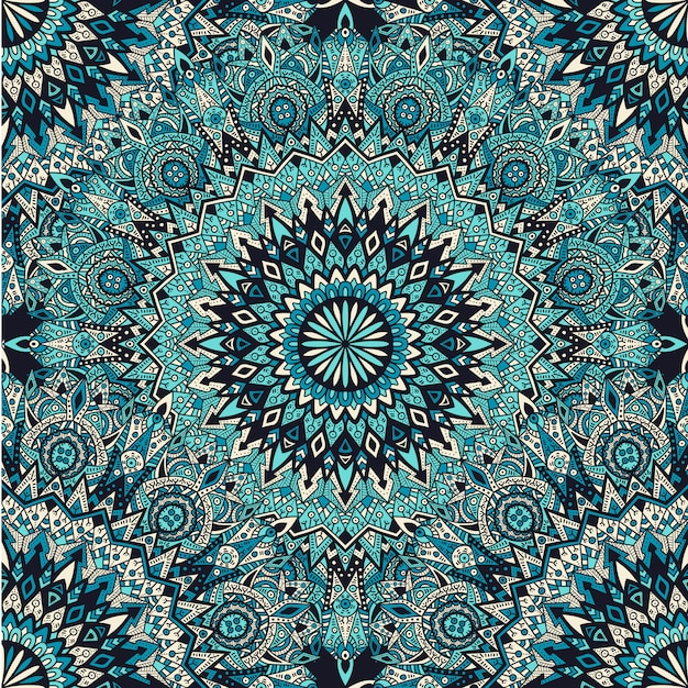 Mandala de patrones sin fisuras. diseño vintage para impresión. Vector Premium