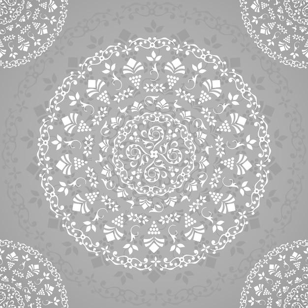 Mandala transparente ornamental gris vector gratuito