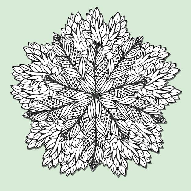 Mandala único con hojas. zentangle redondo para páginas de libro ...