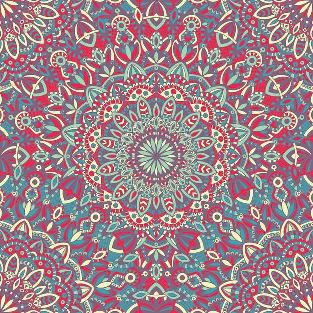 Mandala vector tribal vintage étnico de patrones sin fisuras para imprimir Vector Premium