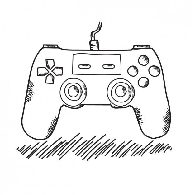 Mando De Video Consola Dibujado A Mano Vector Gratis