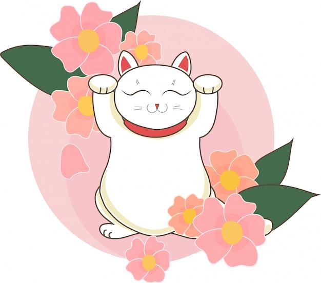 Maneki neko / neco con flores y flores de cerezo (sacura) de japón, un gato con una pata levantada símbolo de suerte japonés, ilustración vectorial Vector Premium