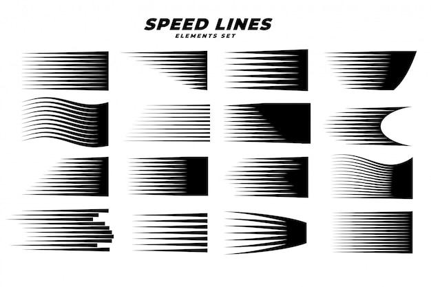 Manga comic movimiento velocidad líneas conjunto vector gratuito