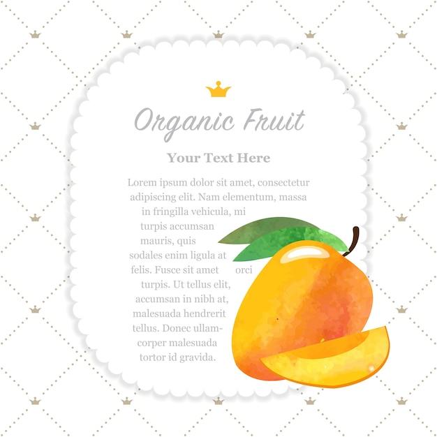 Mango de marco de nota de fruta orgánica colorida textura acuarela naturaleza Vector Premium
