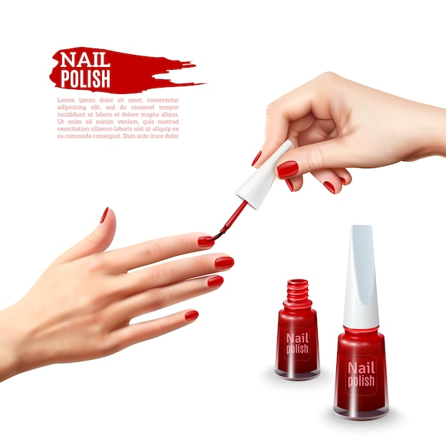 Manicura esmalte de uñas manos cartel realista vector gratuito