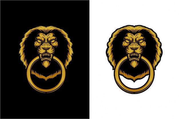 La manija de la puerta: la cabeza de un león Vector Premium