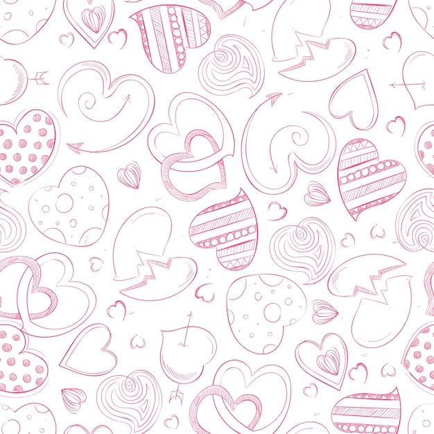Mano de bolígrafo dibujo corazones de patrones sin fisuras ...