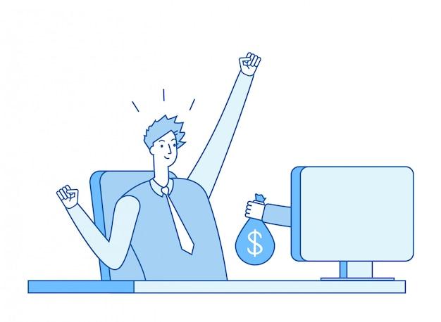 Mano con bolsa de dinero saliendo de la pantalla de la computadora Vector Premium