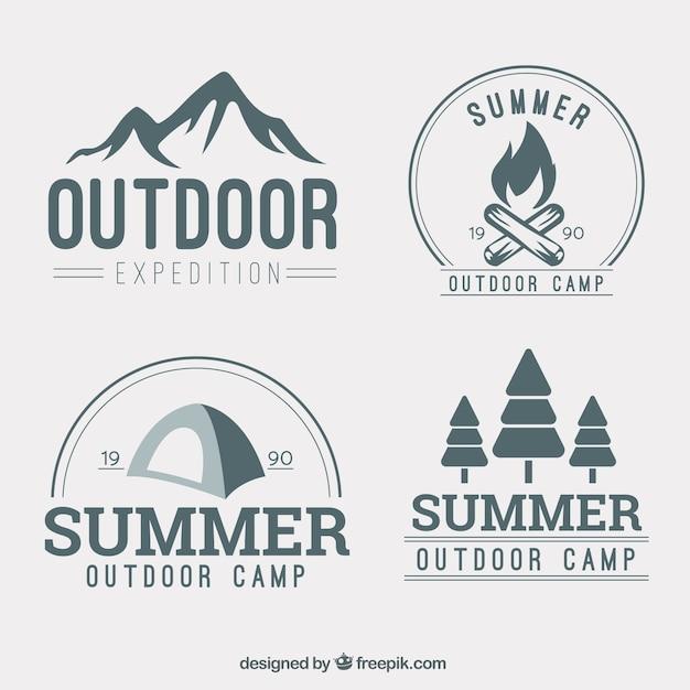 A mano la colección logotipo aventura dibujada vector gratuito