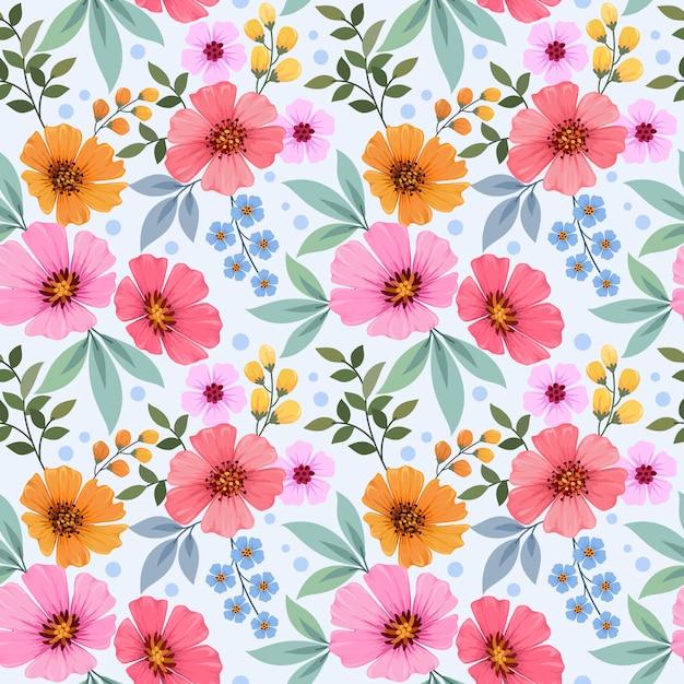 Mano colorida dibujar flores de patrones sin fisuras para papel tapiz textil tela. Vector Premium