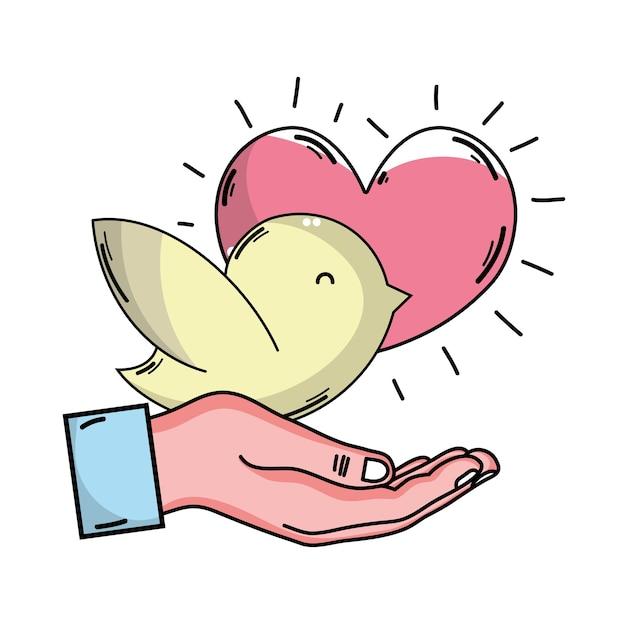 Mano con paloma y corazón | Descargar Vectores Premium