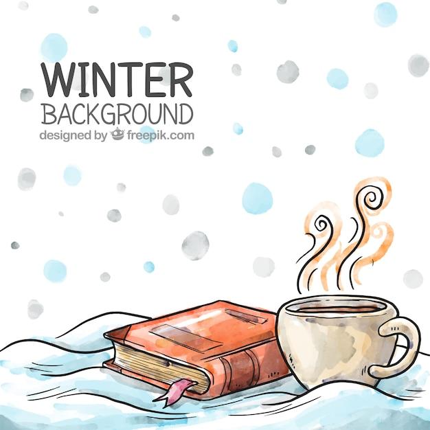 Mano de fondo de invierno dibujo Vector Premium