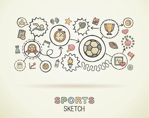 Mano de deporte dibujar iconos integrados en papel. dibujo colorido ilustración infográfica. pictogramas de color de doodle conectados, natación, fútbol, fútbol, juego, fitness, concepto de actividad Vector Premium