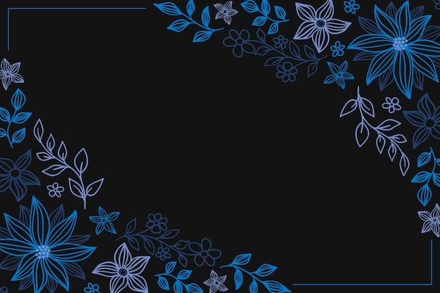 Mano dibuja flores de colores sobre fondo de pizarra vector gratuito